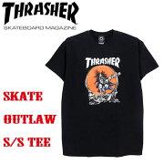 THRASHERスラッシャー/SKATEOUTLAWTEE/メンズ半袖TシャツアメリカサイズストリートスケートボードスケボーBLACK/254074