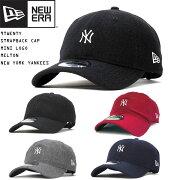 NEWERAニューエラキャップサイズ調整9TWENTYミニロゴメルトンMLBニューヨークヤンキース帽子刺繍UNISEXメンズレディース帽子USAモデル