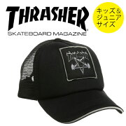 THRASHER(スラッシャー)子供用ワッペンメッシュキャップ(サイズ調整可能)帽子KIDS子供服/FLAMESK8GOATCAP/17THC02KストリートスケータースケボーSKATE
