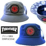 THRASHER(スラッシャー)バケットハット35th帽子(35-16TH-H01)ツバ裏柄/ブランド創設35周年記念ロゴワッペン帽子メンズレディースストリートスケータースケボーDEADSTOCK