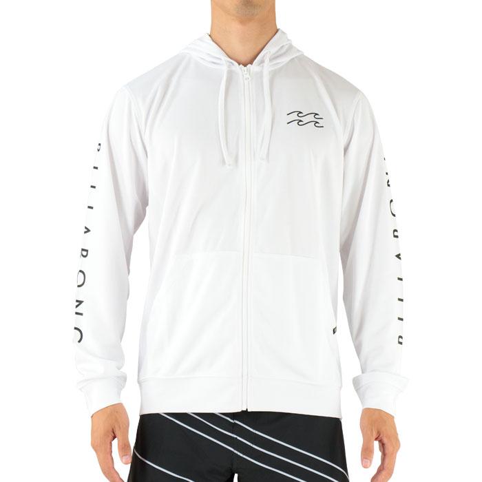 SALEBILLABONGAH011867WHTビラボン長袖ジップフードラッシュガード袖ロゴバックプリント