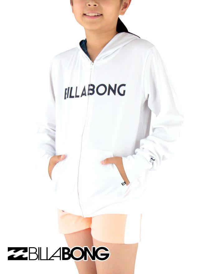 セール-BILLABONG(ビラボン)-キッズ-長袖ジップラッシュパーカー【90~150cm】AG015852-WHT【メール便】ラッシュガード