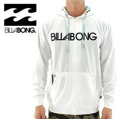 BILLABONG ラッシュガード ビラボン メンズ 長そで ロゴプリント ラッシュパーカー ジップフード AE011-858 通販 販売 即納 メンズ水着 メンズパーカー 海ファッション 人気ファッション 人気ブランド サーフブランド 白色 ホワイト WHITE