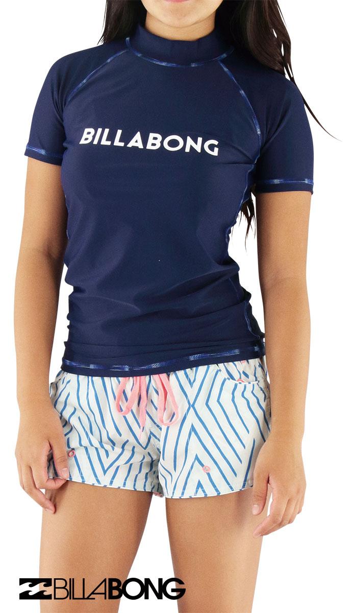 セール-BILLABONG-AH013864-NVY-ビラボン-半袖ラッシュガード-レディース-水着-紫外線対策-日焼け予防