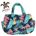 フララニ マザーズバッグ トートバッグ ハワイアンバッグ 大容量 旅行バッグ 軽量 かばん 紺 トロピカル柄