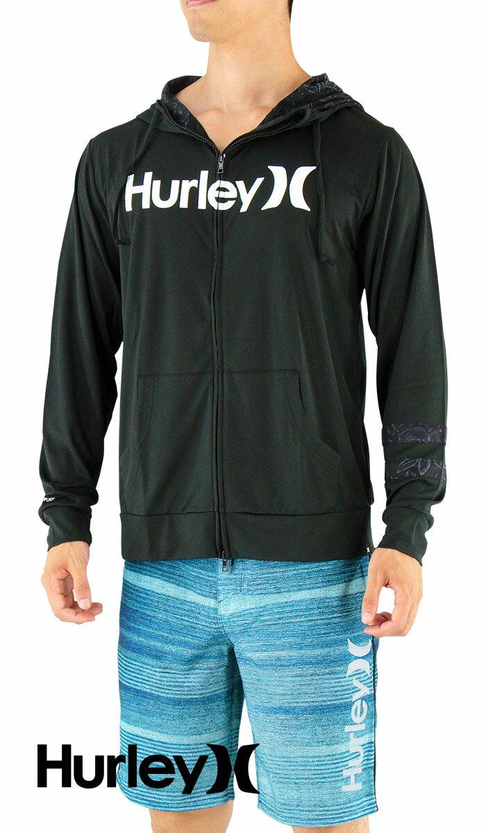 セール-HURLEY-ハーレー-長袖ラッシュガード-ジップアップ-フード付き-MKHZLY40-00A-黒