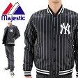 ニューヨークヤンキース ジャケット アウター メンズ ブルゾン ストライプ サテンJKT マジェスティック