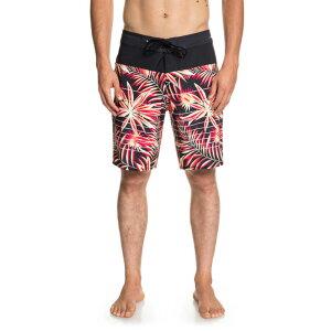 クイックシルバー メンズ 海パン サーフトランクス 男性 水着 サーフパンツ 柄物 ハワイアン柄 赤系