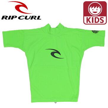 リップカール キッズ 半そでラッシュ ジュニアラッシュガード Tシャツ 子ども用水着 ライム グリーン