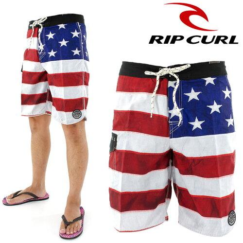 メンズ ボードショーツ サーフパンツ RIPCURL リップカール ストレッチ 海パン 星条旗 ...