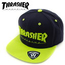 THRASHER(スラッシャー) MAG LOGO CAP 【NVY/LIM】 スナップバックキャップ ネイビーxライム 15TH-C50