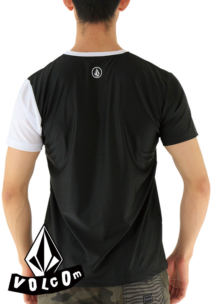 SALEボルコムラッシュTシャツ半袖ラッシュガードメンズTシャツ黒VOLCOMN01117JB