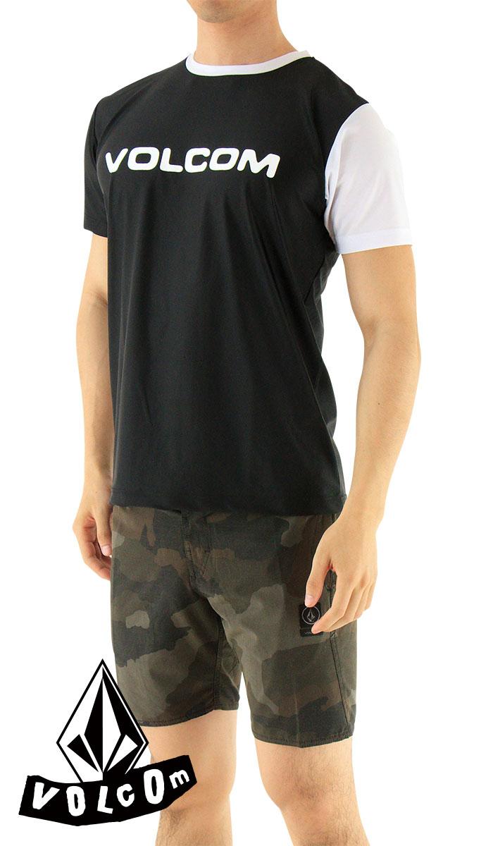 SALE-ボルコム-ラッシュTシャツ-半袖-ラッシュガード-メンズ-Tシャツ-黒-VOLCOM-N01117JB