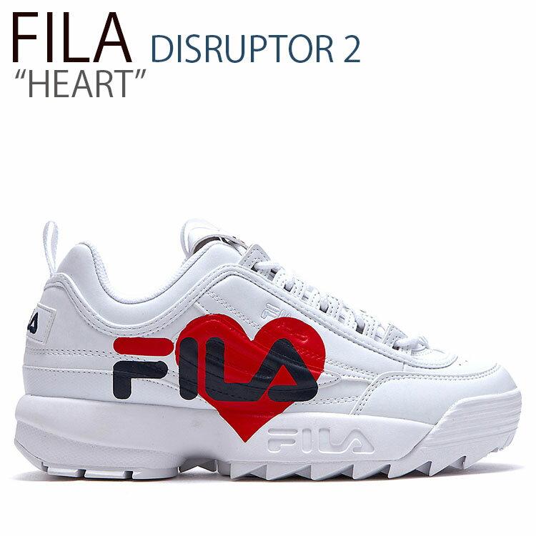 フィラ ディスラプター スニーカー FILA メンズ レディース DISRUPTOR 2 HEART ディスラプター2 ハート WHITE ホワイト FLFLAS1X04 シューズ画像