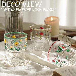 デコビュー コップ DECO VIEW RETRO FLOWER LINE GLASS レトロ フラワー ライン グラス TULIP チューリップ DAFFODIL スイセン ROSE ローズ 韓国雑貨 2456498 ACC