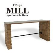 テーブルコンソールリビングデスク幅150cm木製北欧おしゃれ2人モダン西海岸男前シンプルカフェ風アイアンスチールレトロアップタウンUP297MILL150ConsoleDesk