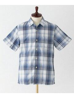 Indigo Ombre Check Box Shirt UF65-13R004: Indigo