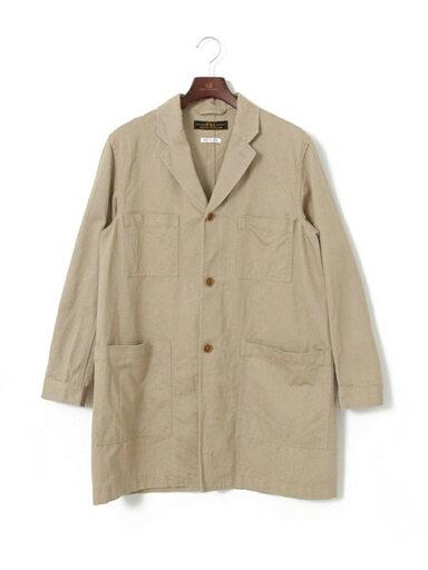 JP Cotton Linen Drill Shop Coat UF64-17R024: Beige