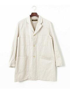 JP Cotton Linen Drill Shop Coat UF64-17R024: Off White