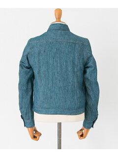 JP Linen Denim G Jacket UF74-17B007: Blue / White
