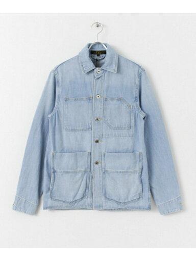 Washed-Denim Chore Coat FSC-19100502: Washed Indigo