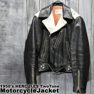 ajito Happyend ハッピーエンド 1950's HERCULES TwoTone MotorcycleJacket sz36-38 ビンテージ ヘラクレス 2トーン バイカラー ダブル ライダース ジャケット ヴィンテージ ミリタリー ブルゾン 本革 古着 レザー アウター