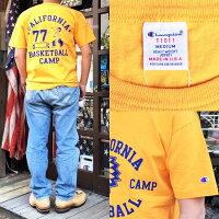 BUDDY×ChampionCALIFORNIABASKETBALLTシャツT1011MADEINU.S.A.別注アメリカ製チャンピオンバディアメカジ黄色イエローゴールドバディ原宿メンズストリートファッショントップスティーテンイレブンインディアンINDIAN