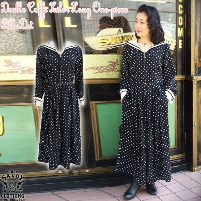 レディースファッション, ワンピース SAVOY CLOTHING Double Cuffs Sailor Long One-piece Polka Dot 50s 50