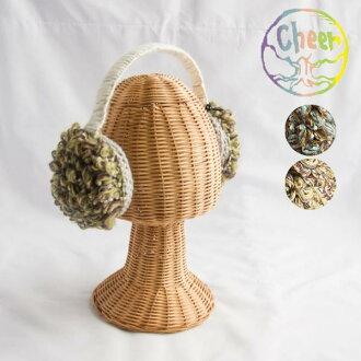 快活Cheer護耳罩護耳罩花紋女性時裝天然◆花紋動機編織物護耳罩耳朵期待護耳罩