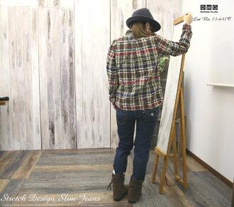 / blue denim / period-limited / deep-discount /fs3gm made in Domingo DMG(D.M.G) stretch denim asymmetric back design taper DOS rim jeans (skinny / denim underwear /13-641C-29) sale /SALE// Lady's / stitch / Japan