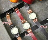 《プレゼントに最適!ラッピング&送料無料》【メンズ&レディース】HAWKCOMPANY(ホークカンパニー)専用BOX入りヴィンテージウォッシュ加工レザーステッチ2連ブレスレットリストウォッチ(バングル・腕時計)(6402)