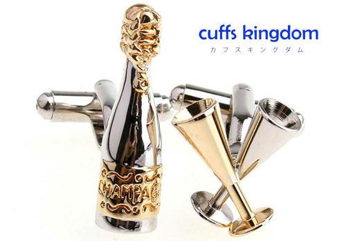 シャンパンで乾杯カフスボタン(金配色アシメトリーカフリ)