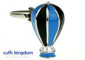 青x黒熱気球カフスボタン
