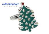 クリスマスツリーのカフスボタン
