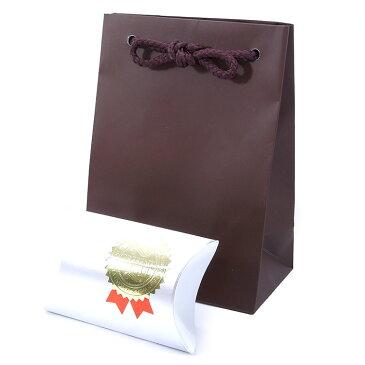 【ラッピング材】ダークブラウンのツヤ有り手提げ袋、銀ボックス、ラベルシールの三点セット。