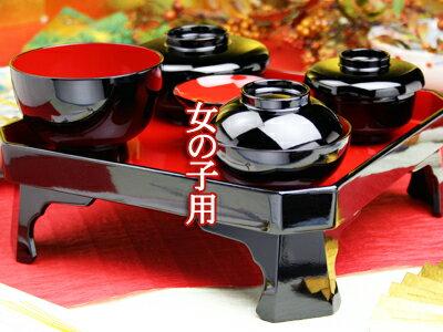 【レンタル】お食い初め膳食器・鯛の皿大セット レンタル【木曽の漆器よし彦】