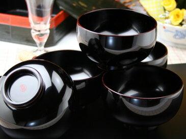 日の丸椀溜内黒塗り5個揃え 化粧箱入 【木曽の漆器よし彦】