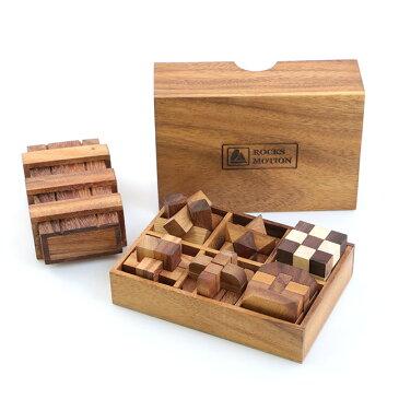 ◎ロックスモーション ウッドパズルセット 6+1[右脳を鍛える立体パズル こどもの知育にもおすすめの木製のパズル 木製ボックスに収納できる立体の知育玩具 大人にも人気の知育パズル]