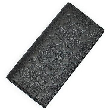 コーチ COACH 財布 長財布 メンズ F75365 BLK シグネチャー クロスグレイン レザー スリム ブレスト ポケット ウォレット ブラック