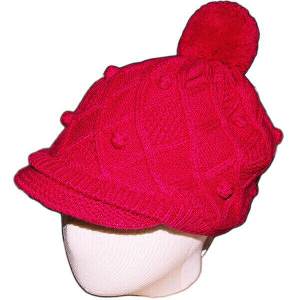 ジンボリー GYMBOREE 女の子用ショッキングピンクポンポン付ニットキャップ帽子 出産祝い 濃いピンクニット帽子 【ラ・クーポンで送料無料】【楽ギフ_包装選択】