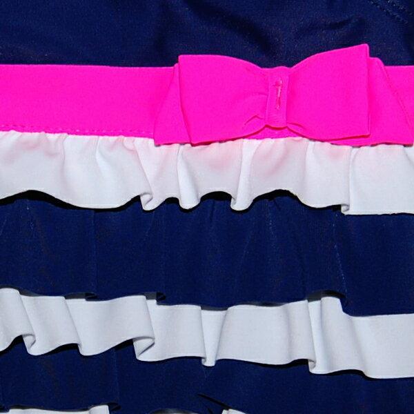 カーターズ(Carter's)【2013年最新作】女の子ネイビーxホワイトフリル+ピンクリボン付きワンピース水着,出産祝い,紺,白スイムウェア【楽ギフ_包装選択】【レビューで送料無料】【あす楽対応】