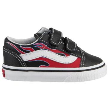 【海外限定】 Vans ヴァンズ バンズ 【ベビー・キッズ(9.0-15.0cm)】 Vans Old Skool Moto Flame (Black/Racing Red) スニーカー 子供靴 出産祝い 【ラ・クーポンで送料無料】