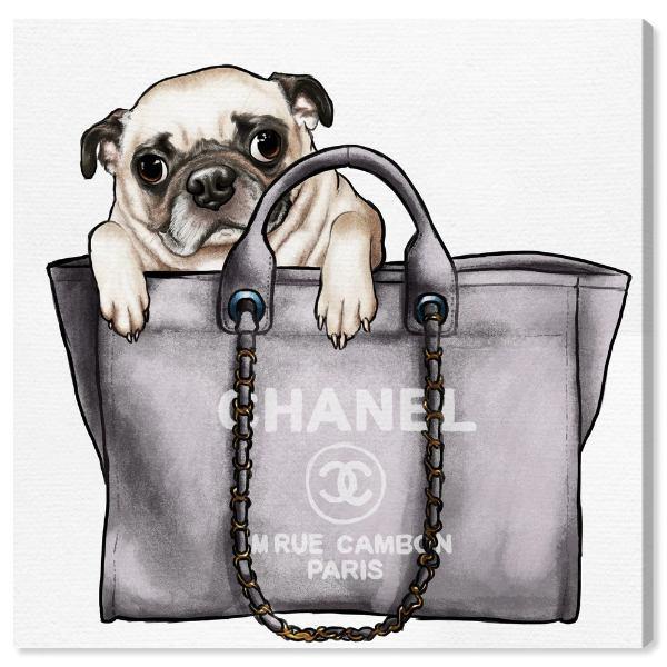 絵画, その他  Oliver Gal 30x30cm Pug in the Bag Chanel
