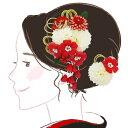 髪飾り  2点セット kk-084 赤 白 レッド コーム型...