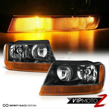 クライスラー Jeep ヘッドライト 1999-2004 Jeep Grand Cherokee WJ [FACTORY STYLE] Black Headlights Headlamps PAIR 1999-2004ジープグランドチェロキーWJ [FACTORYのSTYLE]ブラックヘッドライトヘッドランプPAIR