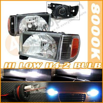 Toyota 4Runner ヘッドライト Hi + Low HID 99-02 Toyota 4Runner Black Headlights こんにちは+低HID 99-02トヨタ・ハイラックスサーフブラックヘッドライト