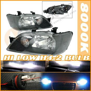 Mitsubishi Lancer ヘッドライト Hi + Low HID 02-03 Mitsubishi Lancer JDM Black Headlights こんにちは+低HID 02-03三菱ランサーJDMブラックヘッドライト