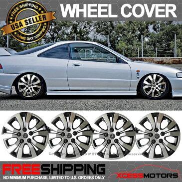 USパーツ ユニバーサル14インチハブキャップHubcapホイールカバータイヤスキンカバーブラックシルバー4PC Universal 14 Inch Hub Caps Hubcap Wheel Cover Tire Skin Covers Black Silver 4PC
