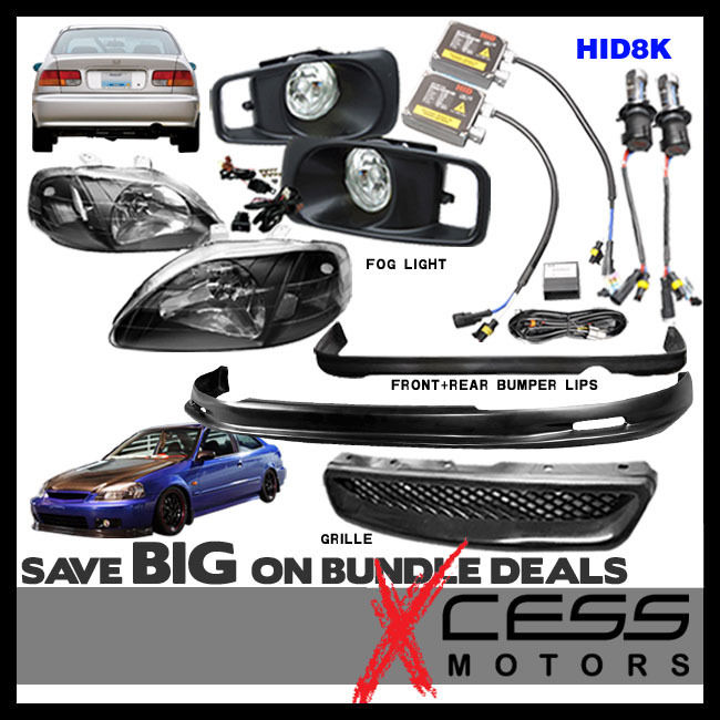 USパーツ シビックEKフロント& リアバンパーリップスポイラー& フォグライトグリルヘッドライトHID 8000K Civic EK Front & Rear Bumper Lip Spoiler & Fog Light Grille Headlights HID 8000K