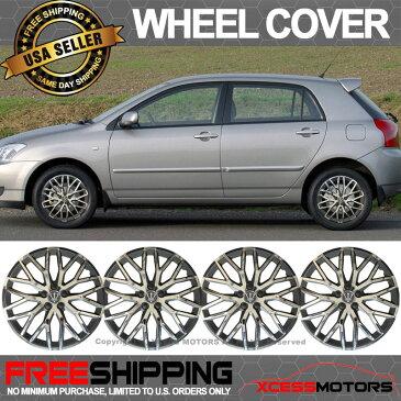 USパーツ ユニバーサル14インチハブキャップHubcapホイールカバータイヤスキンカバーブラッククローム4PC Universal 14 Inch Hub Caps Hubcap Wheel Cover Tire Skin Covers Black Chrome 4PC